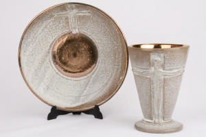 Calice con Patena in Ceramica Decorazione Cristo