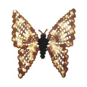 CENTRINO marrone sfumato a forma di farfalla all'uncinetto