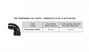 Manicotto a 90° a vite in PVC Ø 38 per lavapavimenti - Cod: TU0005800138000
