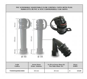 Manicotto in PVC a vite comprimibile con tappo Ø 38 per lavapavimenti - Cod: TU000SQUEEZ3800