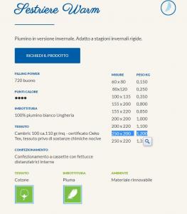 Daunex 100% piumino d'oca ungherese Sestriere Warm- 2 piazze maxi 250x220