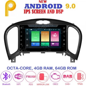 ANDROID 9.0 autoradio 2 DIN navigatore per Nissan Juke 2014-2018 GPS DVD WI-FI Bluetooth MirrorLink