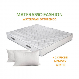 Materasso in Waterfoam alto 20 cm Ortopedico, Rivestimento effetto Massaggiante, con Cuscini Memory Foam Gratis | FASHION 2.0