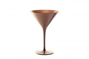 Set 6 pezzi calice coppa Martini in vetro cl 24, colore bronzo cm.11,7x11,7x17,2h