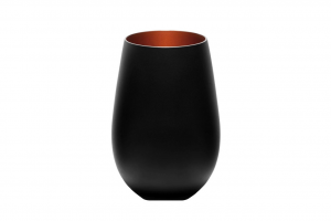 Set 6 pezzi bicchieri acqua in vetro colore nero, interno colore bronzo cl 46,5 cm.12h diam.8,5