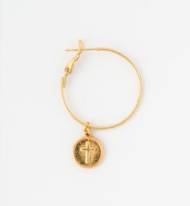 Orecchini a cerchio in ottone galvanizzato con piastra croce e madonnina miracolosa