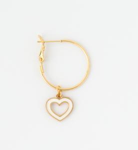 Orecchini a cerchio in ottone galvanizzato con cuore e cornetto pendenti