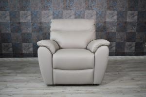 CELINA - Poltrona relax in pelle colore grigio con recliner elettrico