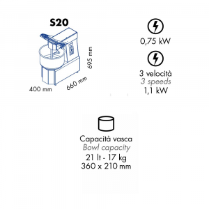 Impastatrice a Spirale GAM S20 Capacità vasca 20 l