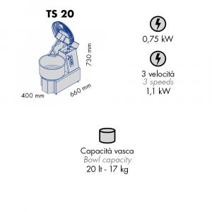 Impastatrice a Spirale TS20 Testa Sollevabile