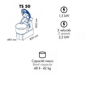 Impastatrice a Spirale TS50 Testa Sollevabile