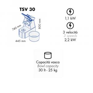 Impastatrice a Spirale TSV30 Testa Sollevabile+Vasca Estraibile