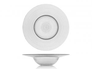 Piatto pasta in vetro trasparente cm.6h diam.26