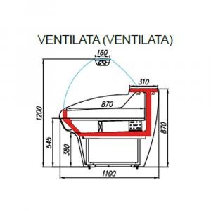Banco Alimentare Vetrina Espositiva Ventilata Mec G110 (Bavaria) 0/+7 °C - Varie Misure