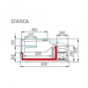 Vetrina Espositiva Statica Mec AC87 (Argo 2) +2/+8 °C - Dim. 100х87х41cm