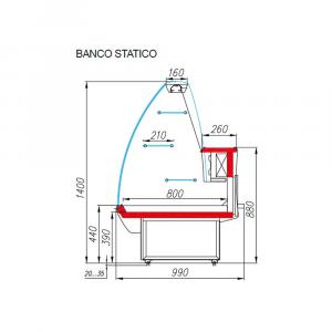 Banco Alimentare Vetrina Espositiva Statica Pasticceria Mec K95 (Plum) 0 / +7 °C - Dim. 148х99х140cm