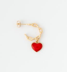 Orecchini a cerchio in ottone galvanizzato con cuore e croce pendenti