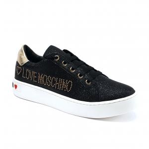 Sneaker nera effetto glitter Love Moschino