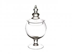 Scatola in vetro con coperchio per confettata caramellata cm.30h diam.11,5