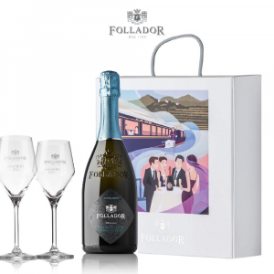Gift Package Prosecco Superiore D.O.C.G. Extra Brut with 2 Wine glasses