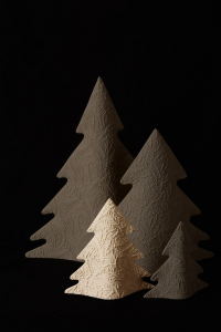 Albero di Natale Moderno Avorio in Gres Porcellanato cm 20