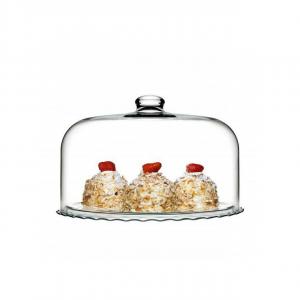 Piatto in vetro pasticceria con campana in vetro cm.22,9h diam.37