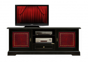 Mueble tv negro piel roja 150 cm black gold