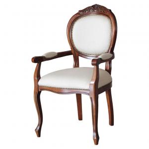 Silla cabecera estilo clásico con brazos acolchado y talla