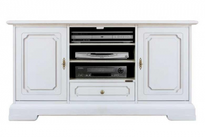 Mueble de tv en madera estilo clásico blanco 130 cm