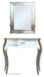 Consola y espejo todo en pan de plata Silver Light
