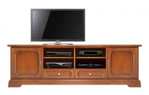 Mueble tv con patas en madera de artesanado