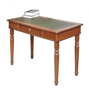 Mesa de despacho tablero en piel y friso dorado