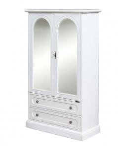 Vitrina laqueada blanca 2 puertas 2 cajones