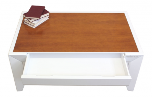 Mesa baja de centro con tablero bicolor