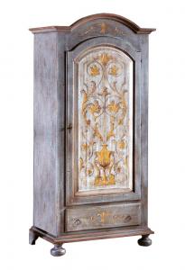Armario lacado y decorado 1 puerta con barra para ropa