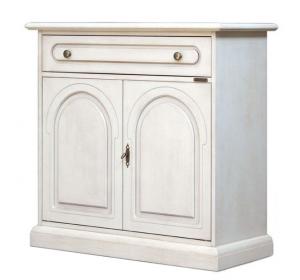 Aparador blanco 2 puertas 1 cajón en madera primera calidad