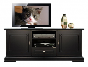 Mueble tv baja negro en madera laqueada
