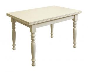Mesa rectangular laqueada con cajón central 120-200 cm