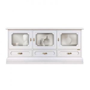 Mueble tv 3 puertas vitrinas y 3 cajones acabado blanco