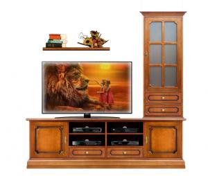 Composición mueble de pared mueble tv vitrina y estante artesanado