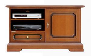 Mueble de tv puerta en madera cajón y vano con estante