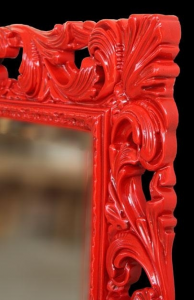Espejo rojo Venezia de artesanado italiano
