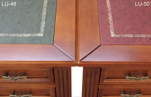 Escritorio Luis XVI en madera tablero en piel y cinco cajones