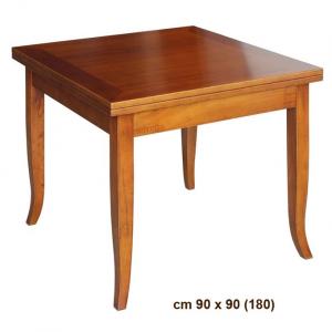 Mesa cuadrada extensible en madera 90x180 cm