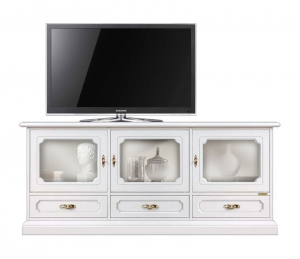 Mueble tv tres vitrinas estilo clásico