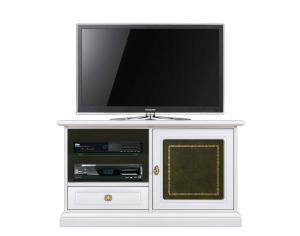 Mueble de tv madera y cuero verde