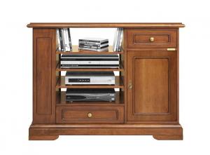 Mueble tv de madera largo vano con estantes