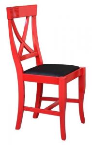 Silla rojo patinado con asiento acolchado
