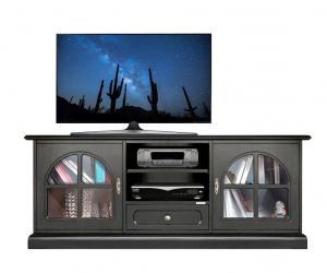 Mueble tv negro puertas de vidrios diseño italiano