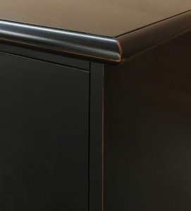 Mueble tv 2 metros negro con vidrios azules